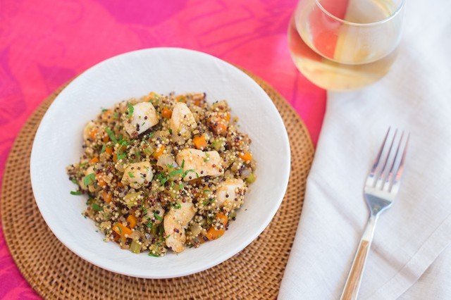 Chicken with Tri Color Quinoa and Mirepoix