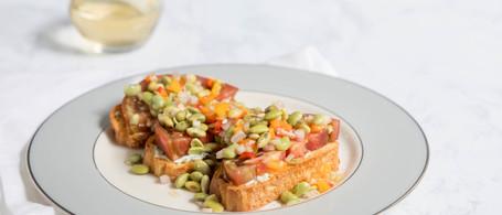 Tomato Bruschetta with Lemon-Thyme Mayo & Field Pea Salad