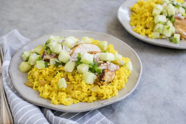 Latin-Spiced Chicken, Fresh Cucumber-Jalapeño Salsa & Yellow Rice