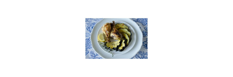 White Bean Salad, Spicy Honey Mustard Drumsticks, Herb-Roasted Acorn Squash