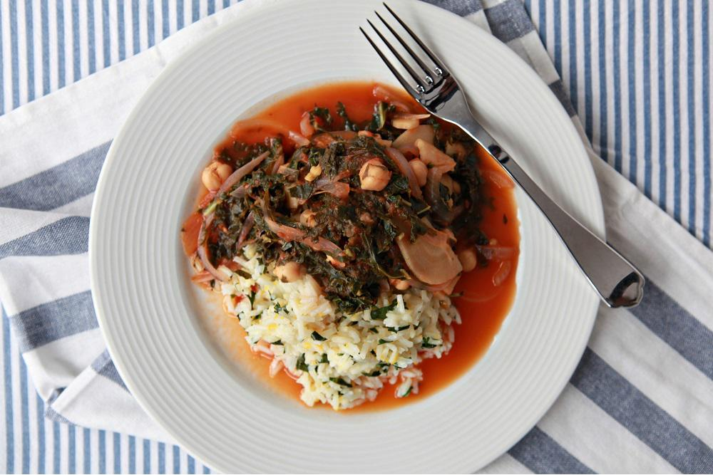 Kale, Chickpea, Parsnip and Tamarind Stew over Blood-Orange Cilantro Basmati Rice