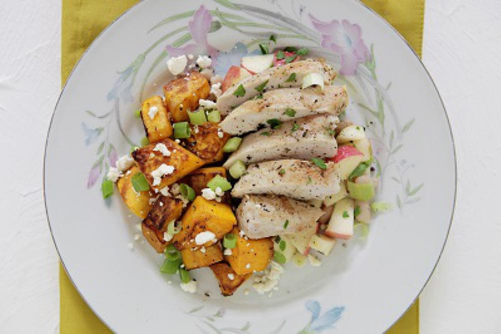 Chicken Breast, White Bean & Apple Salsa, & Sautéed Feta Butternut Squash