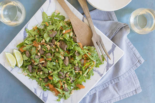 Spicy Thai Style Beef Salad with Mint Peanuts and Lime