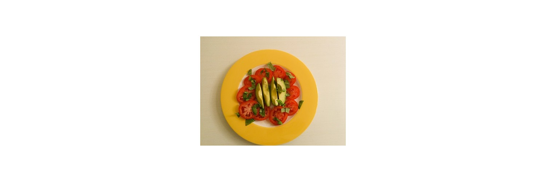 Refreshing Tomato and Avocado Salad; Italian Sliced Steak Tagliata; Arugula and Paprika Couscous