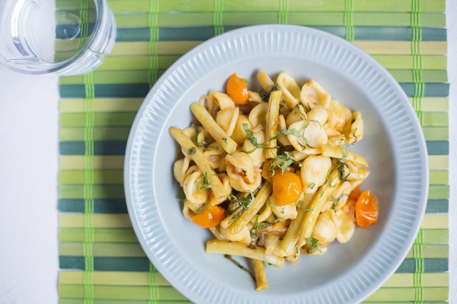 Orecchiette with Yellow Wax Beans, Sungold Tomatoes, and Roasted Garlic