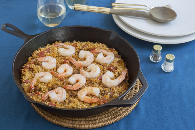 Shrimp & Chorizo Paella with Spicy Greens & Sherry Vinaigrette