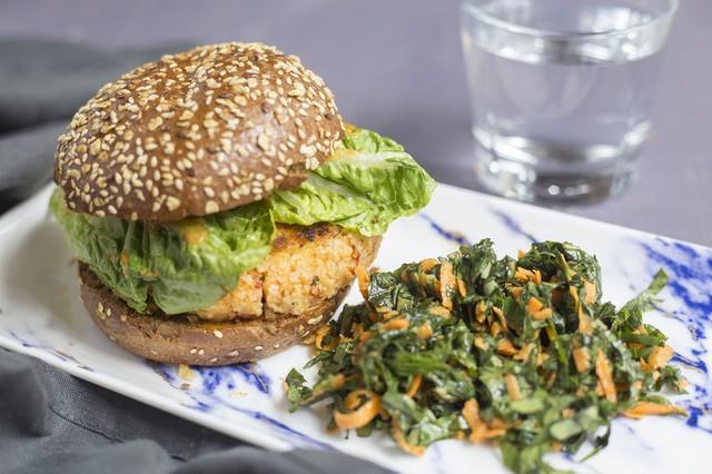 Superfood Grain Burger with Sweet Potato greens