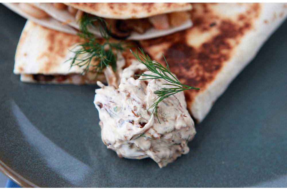 Mushroom, White Bean, and Fontina Quesadillas with Caramelized Shallot-Dill Sour Cream