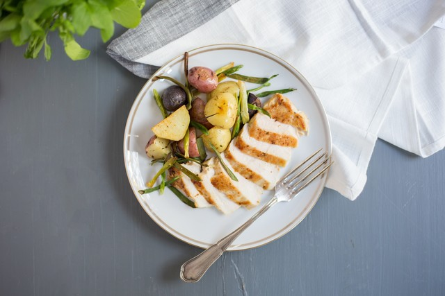 Chicken Breast with Green Onion and Roasted Potato