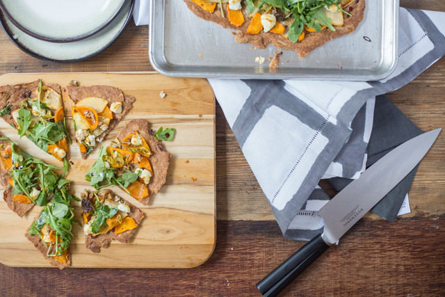 SuperFood Flatbread with Sweet Potatoes, Goat Cheese, and Balsamic Drizzle