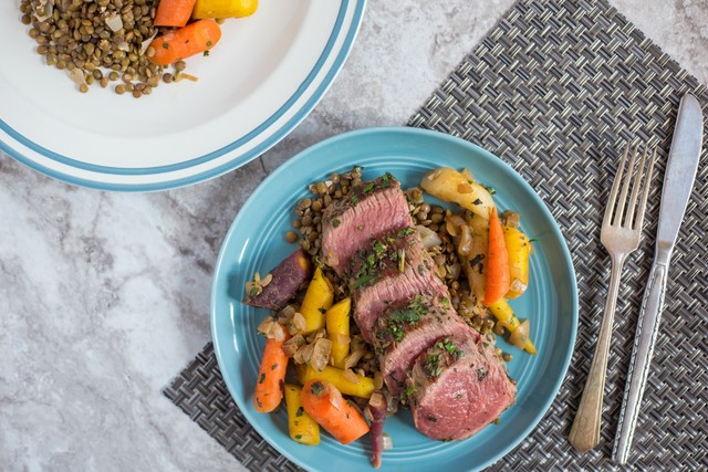 Herbed Bistro Filet with Lentils and Carrots