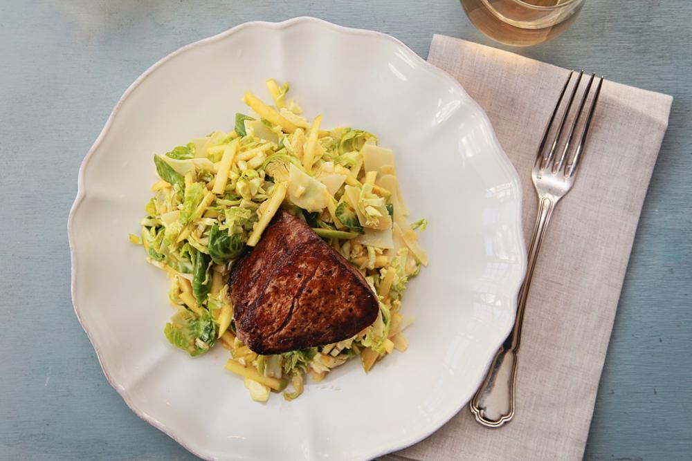 Beef Tenderloin, Brussels Sprouts Salad with Turmeric Dressing