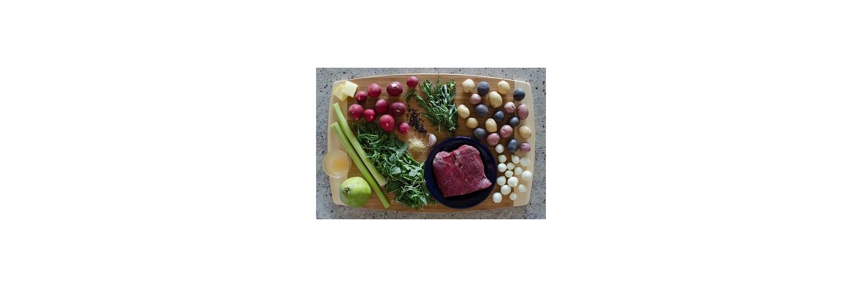 Pear & Arugula Salad, Flat-Iron Steak, Tri-Colored Potatoes & Sautéed Radishes