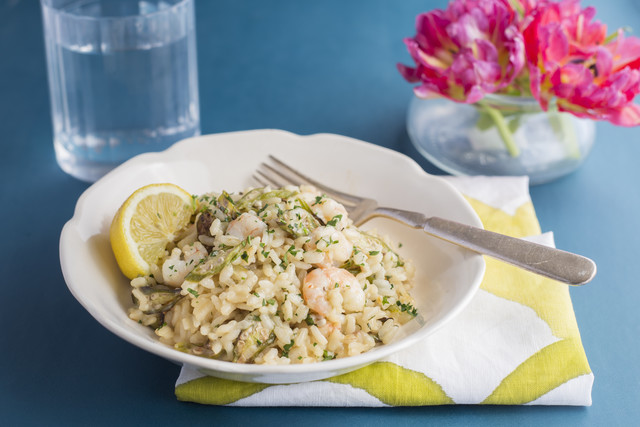 Shrimp Risotto with Roasted Okra & Parmesan