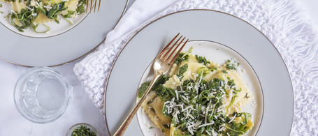 Butternut Squash Ravioli with Spicy Greens & Sage Brown Butter