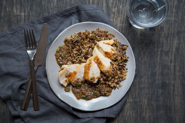 Chicken with Lemon-Herb Sauce over Wild Rice