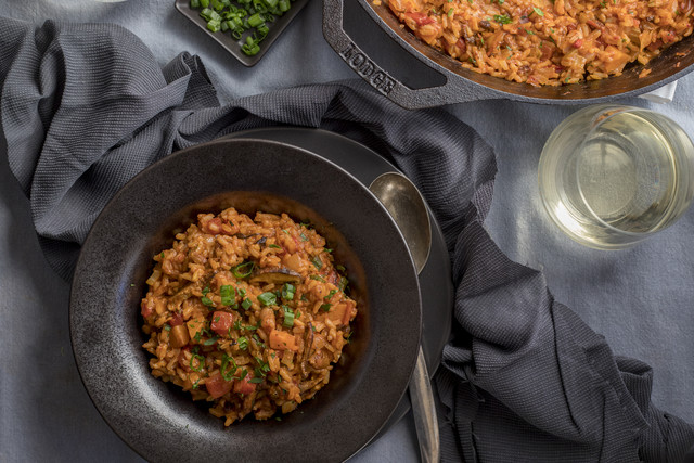 Vegan 'Jambalaya' with Cajun-Spiced Mushrooms, Pecans & Fire-Roasted Tomatoes