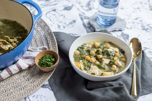 Chicken Chickpea Soup with Spinach, Tahini & Lemon