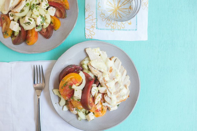 Chicken with Tomato, Cucumber, & Fresh Mozzarella Salad