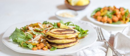 Ricotta & Parmesan Hotcakes with Sautéed Peppers & Sweet Potatoes