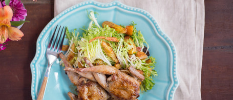 Sorghum-Glazed Quail with Roasted Root Vegetable & Frisée Salad