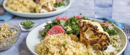 Roasted Cauliflower & Sunflower Seed Gremolata with Brown Rice Pilaf & Winter Citrus Salad