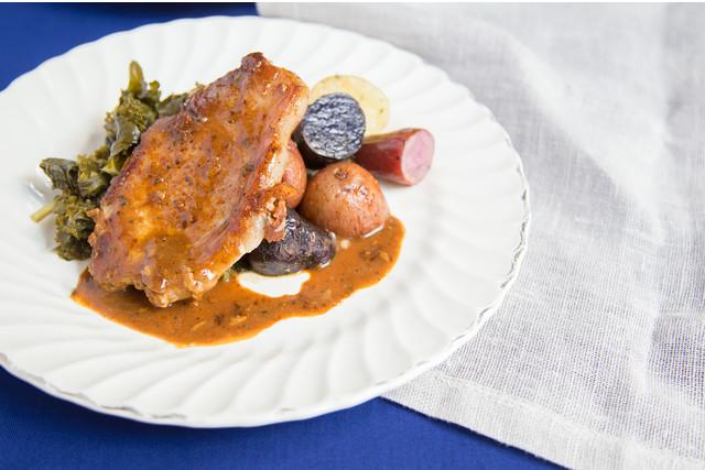 Glazed Pork Chops with Potatoes