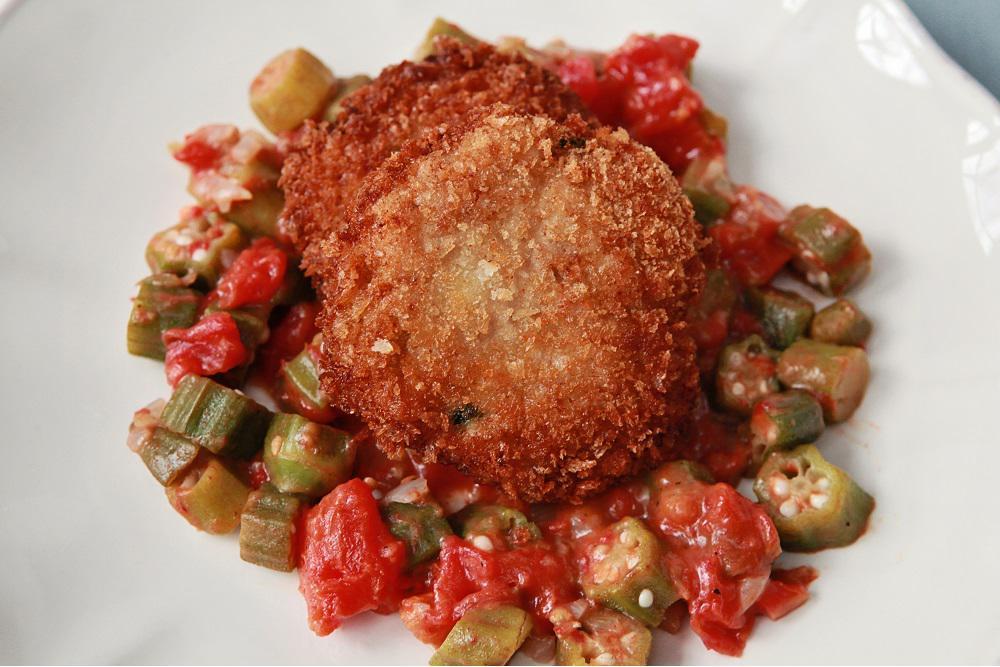 Chicken Croquettes with Tomato & Okra Gravy