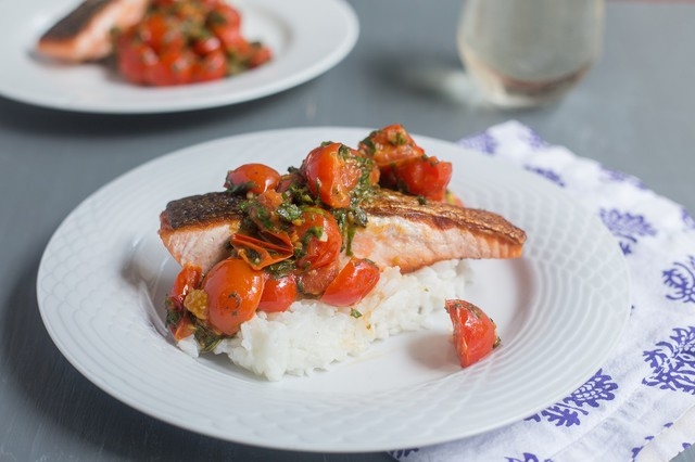 Salmon with Cherry Tomato and Chard