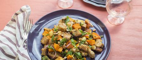 Sweet Potato Panzanella with Pickled Shallot, Pecans & Arugula