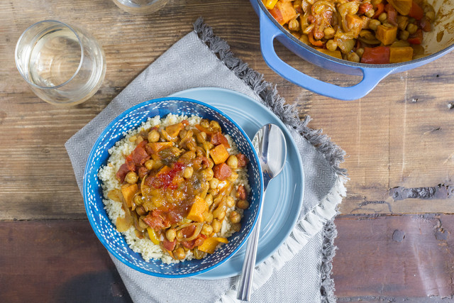 "Spiced Vegetable and Chickpea ""Tagine"" with Couscous & Mango Chutney"
