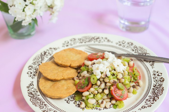 Black Eyed Pea Salad with Masa Cakes