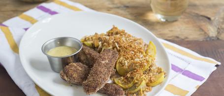 Pecan Chicken Fingers with Parmesan-Panko Squash & Honey-Mustard Sauce
