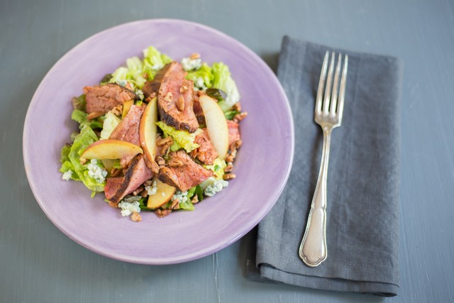 Blackened Flank Steak Salad with Blue Cheese & Sweet Garlic Dressing