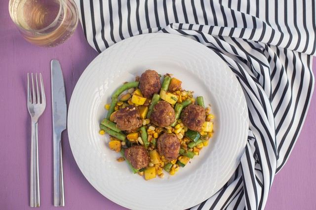 Pork Meatballs with Succotash