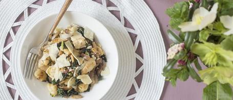 Gnocchi with Chicken, Kale, Green Garlic & Lemon
