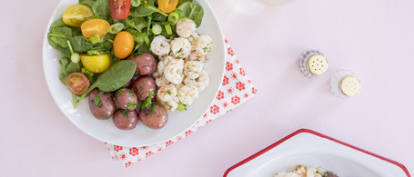 Southern-Style Pickled Shrimp with Buttered New Potatoes & Spinach Salad