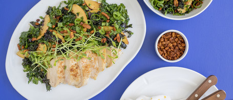 Chicken with Kale & Peach Salad, Pea Greens & Spiced Pecans