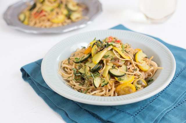 Whole Wheat Linguine with Summer Squash & Salad Tomatoes