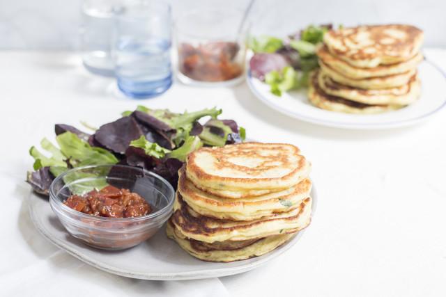 Zucchini Hotcakes with Tomato Jam & Fresh Greens