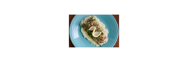 Kale Salad with Pecans and Kumquats, Pecan Crusted Mahi Mahi, Potato and Turnip Mash with Horseradish
