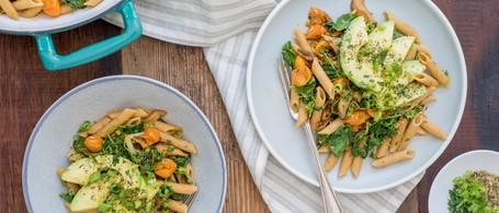 SuperFood Penne Pasta with Smoky-Garlic Mushrooms, Tomato & Avocado
