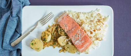 Wild Alaskan Salmon with Almond Pilaf & Glazed Baby Turnips