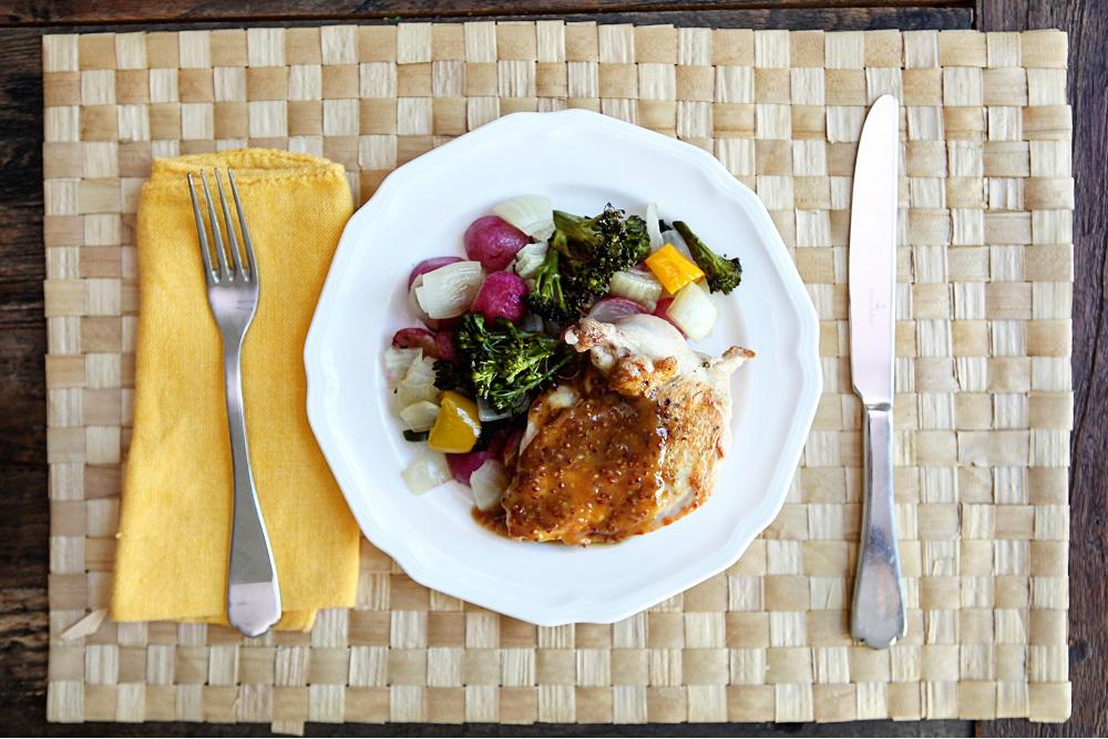 Chicken Breast with Orange Mustard Sauce and Roasted Vegetables
