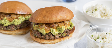 Spicy Tex-Mex Burger with Chipotle, Sautéed Onion & Avocado-Lime Spread