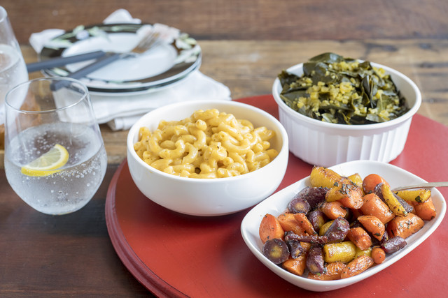 Southern Veg Plate with Sorghum-Roasted Carrots, Collards & Mac-n-Cheese