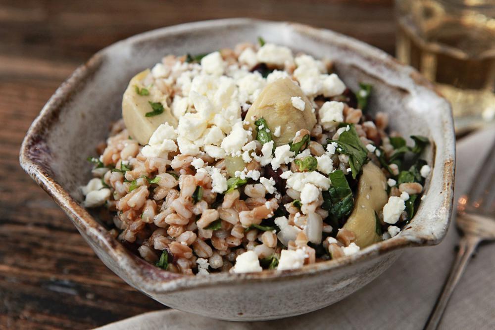 Warm Artichoke, Farro and Mixed Herb Salad w/ Kalamata Olives and Feta Cheese