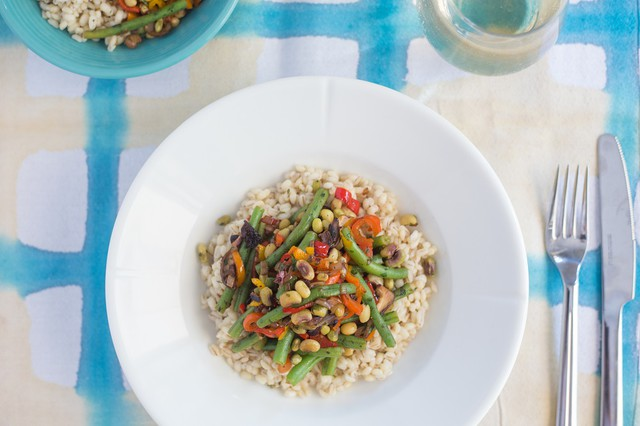 Summer Beans with Mushrooms and Barley