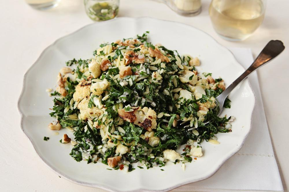 Roasted Cauliflower, Wilted Kale, Orzo with Salsa Verde