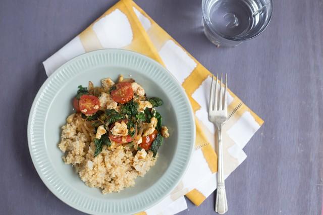 Sauteed Tofu with Greens, Tomato, and Bulgur
